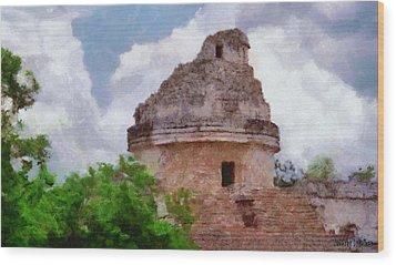 Mayan Observatory Wood Print by Jeff Kolker