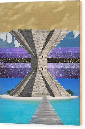Mayan Temple Ships On 2 Worlds At Once Wood Print by Bruce Iorio