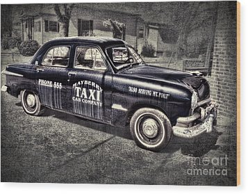 Mayberry Taxi Wood Print by David Arment