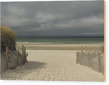 Mayflower Beach Storm Wood Print by Amazing Jules
