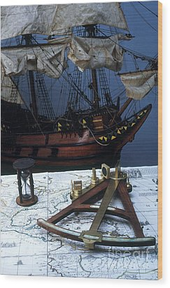 Mayflower Model With Quadrant Wood Print by Fred Maroon