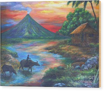 mayon sunset-repro from Amorsolo's work Wood Print by Manuel Cadag