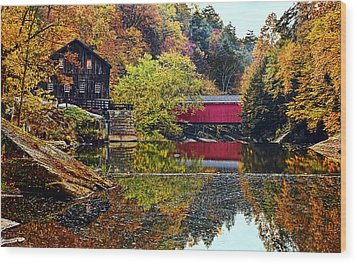 Mcconnell's Mill And Covered Bridge Wood Print by Marcia Colelli
