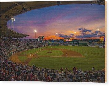 Mccoy Stadium Sunset Wood Print by Tom Gort