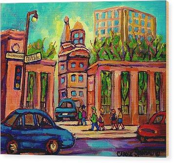 Mcgill University Roddick Gates Montreal Wood Print by Carole Spandau