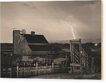 Mcintosh Farm Lightning Sepia Thunderstorm Wood Print by James BO  Insogna