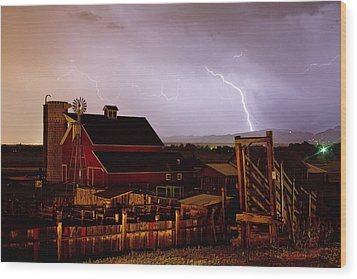 Mcintosh Farm Lightning Thunderstorm Wood Print by James BO  Insogna