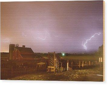 Mcintosh Farm Lightning Thunderstorm View Wood Print by James BO  Insogna