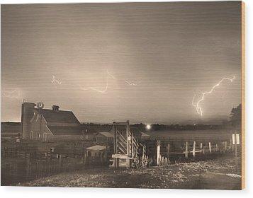 Mcintosh Farm Lightning Thunderstorm View Sepia Wood Print by James BO  Insogna