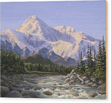 Majestic Denali Alaskan Painting Of Denali Wood Print by Karen Whitworth