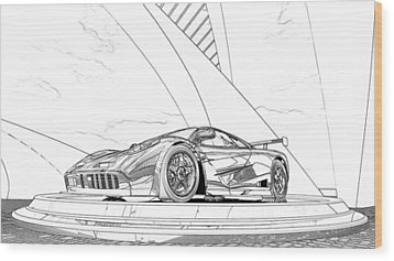 Mclaren F1 Sketch Wood Print by Louis Ferreira