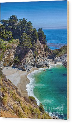 Mcway Falls At Julia Pfeiffer Burns State Park Wood Print