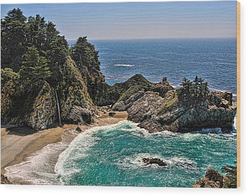 Mcway Falls Beach Wood Print by Lara Ellis