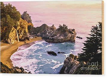 Mcway Falls Pacific Coast Wood Print by Bob and Nadine Johnston