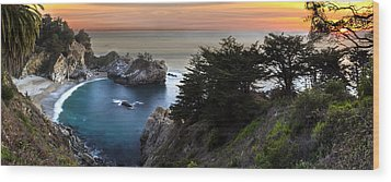 Mcway Falls Sunset Wood Print by Brad Scott