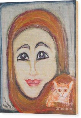 Me And Kitkat Wood Print