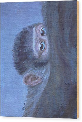 Wood Print featuring the painting Me And My Mandrill Mother by Margaret Saheed