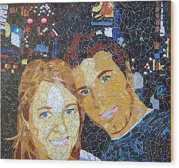 Me And Santi In Times Square Wood Print by Rachel Van der pol