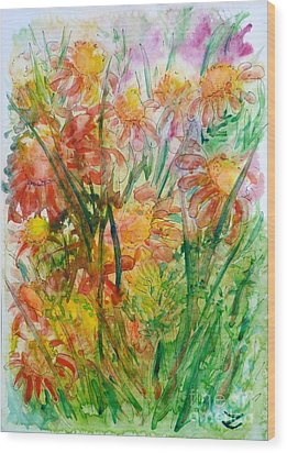 Meadow Flowers Wood Print by Zaira Dzhaubaeva