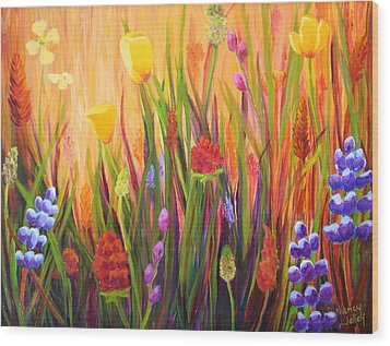 Meadow Gold Wood Print
