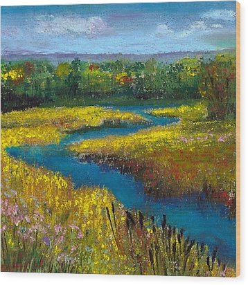 Meandering Stream Wood Print by David Patterson