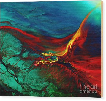 Meaningful Art-flying Above Modern Abstract Colorful Art By Kredart  Wood Print by Serg Wiaderny