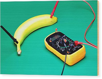Measuring Resistance Of A Banana Food Physics Wood Print by Paul Ge