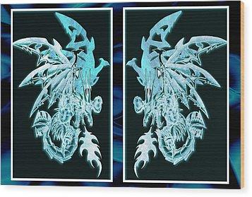 Mech Dragons Diamond Ice Crystals Wood Print