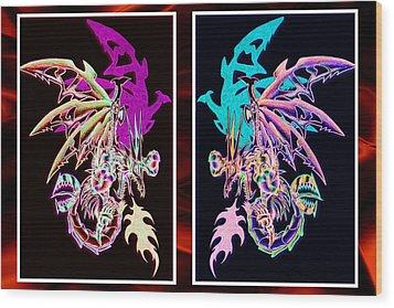 Mech Dragons Pastel Wood Print