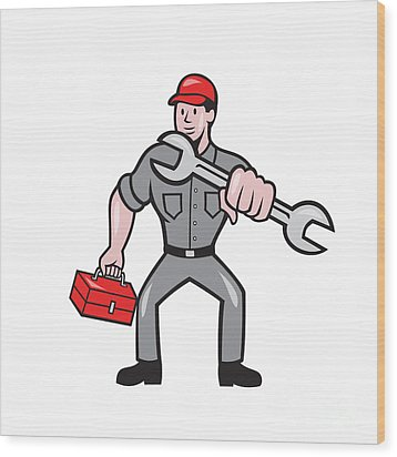 Mechanic Punching With Spanner Cartoon Wood Print by Aloysius Patrimonio