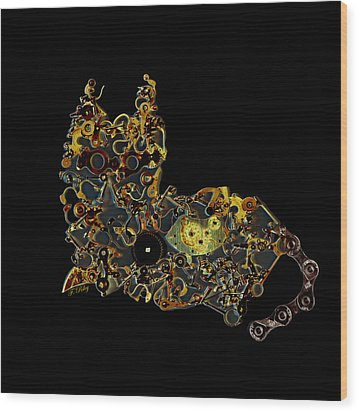 Mechanical - Cat Wood Print by Fran Riley