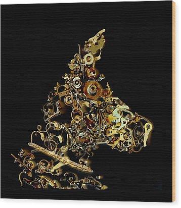 Mechanical - Dog Wood Print by Fran Riley