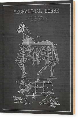 Mechanical Horse Patent Drawing From 1893 - Dark Wood Print by Aged Pixel