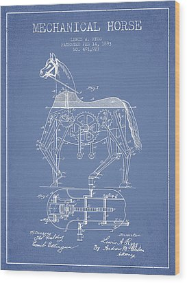 Mechanical Horse Patent Drawing From 1893 - Light Blue Wood Print by Aged Pixel
