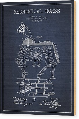 Mechanical Horse Patent Drawing From 1893 - Navy Blue Wood Print by Aged Pixel