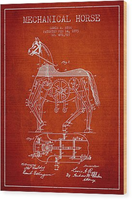 Mechanical Horse Patent Drawing From 1893 - Red Wood Print by Aged Pixel