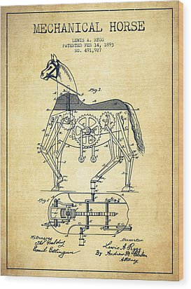 Mechanical Horse Patent Drawing From 1893 - Vintage Wood Print by Aged Pixel