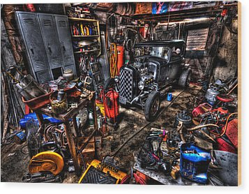 Mechanics Garage Wood Print