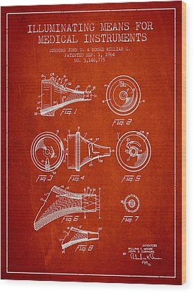 Medical Instrument Patent From 1964 - Red Wood Print by Aged Pixel
