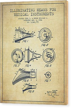 Medical Instrument Patent From 1964 - Vintage Wood Print by Aged Pixel
