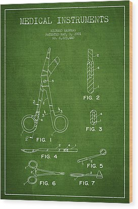 Medical Instruments Patent From 2001 - Green Wood Print by Aged Pixel