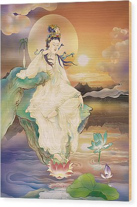 Wood Print featuring the photograph Medicine-giving Kuan Yin by Lanjee Chee