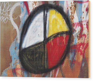 Medicine Wheel Graffiti Wood Print