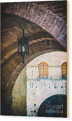 Wood Print featuring the photograph Medieval Arches With Lamp by Silvia Ganora