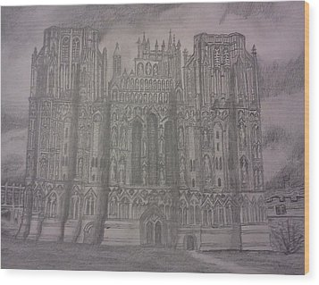 Wood Print featuring the drawing Medieval Cathedral by Christy Saunders Church