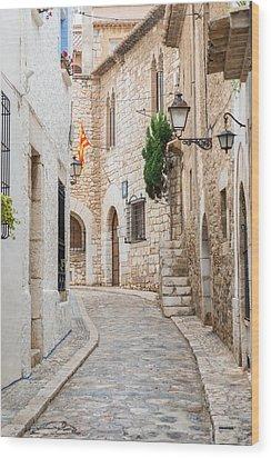 Medieval Street In Sitges Old Town Spain Wood Print
