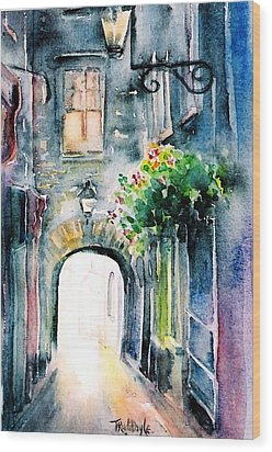 Wood Print featuring the painting The Butter Slip  Medieval Street Kilkenny I by Trudi Doyle