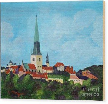 Medieval Tallinn Wood Print by Laurie Morgan