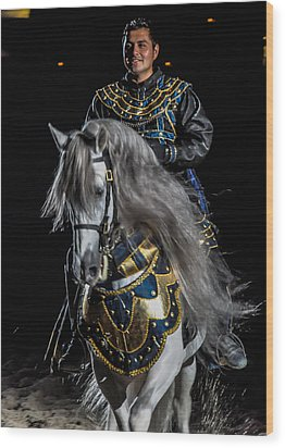 Medieval Times Knight And Horse Wood Print by Gene Sherrill