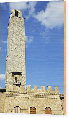 Medieval Tower In San Gimignano Wood Print by Sami Sarkis